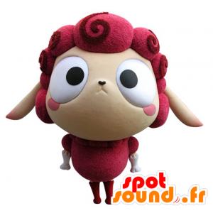 Mascotte de mouton rose et beige, très rigolo