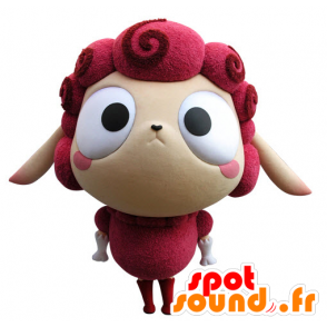 Mascotte de mouton rose et beige, très rigolo - MASFR031432 - Mascottes Mouton