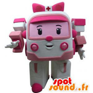 Maskottchen von rosa und weißen Krankenwagen, Spielzeug Transformers Weg - MASFR031434 - Maskottchen von Objekten