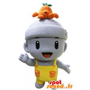 Mascot graue Mann, sehr mit Gesamten lächelnd - MASFR031440 - Menschliche Maskottchen