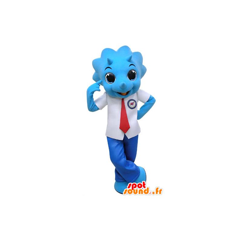 Mascotte de rhinocéros bleu, habillé en costume cravate
