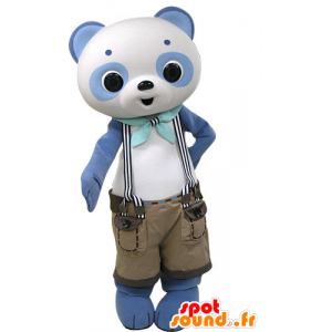 Blauw en wit panda mascotte met broek - MASFR031443 - Mascot panda's
