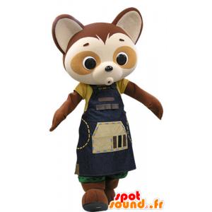 La mascota de la panda de color marrón y beige con un vestido azul - MASFR031444 - Mascota de los pandas