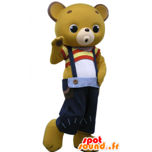 Yellow teddy mascot with blue overalls