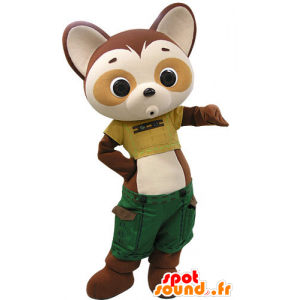 Mascot panda brown and beige with green shorts - MASFR031449 - Mascot of pandas