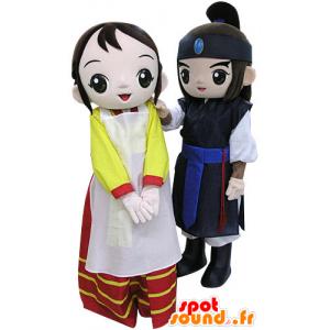 2 mascottes, un guerrier et une femme. Couple de mascottes - MASFR031459 - Mascottes Femme