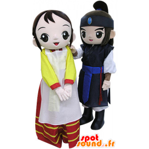 2 mascots, a warrior and a woman. mascots Couple - MASFR031459 - Mascots woman