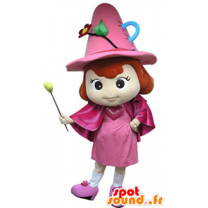 Mascot pink fairy, with a hat and wand