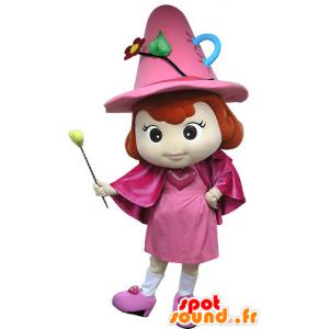 Mascotte roze fee, met een hoed en een toverstaf