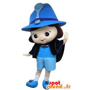 Mascotte de fillette, de fée, de magicienne bleue