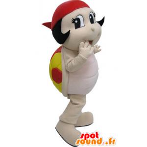 Mascotte de coccinelle rouge et jaune. Mascotte de tortue - MASFR031463 - Mascottes Tortue