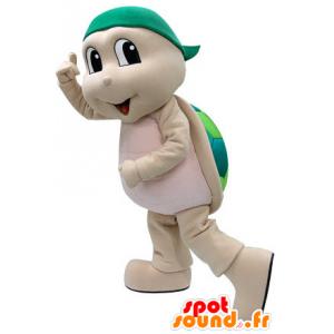Mascot beige og grønn skilpadde. Turtle Costume - MASFR031464 - Turtle Maskoter