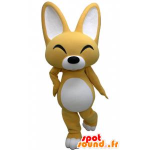 Mascotte de renard jaune et blanc à l'air rieur - MASFR031465 - Mascottes Renard
