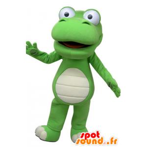 Mascotte de crocodile vert et blanc, géant - MASFR031466 - Mascottes Crocodile