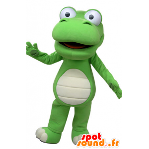 Verde e bianco coccodrillo mascotte, gigante