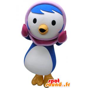 Azul y blanco de la mascota del pingüino con una capucha de color rosa - MASFR031467 - Mascotas de pingüino