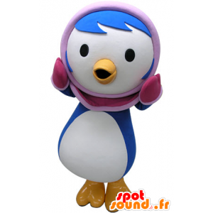 Blue and white penguin mascot with a pink hood - MASFR031467 - Penguin mascots