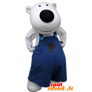 Mascot polar bear, dressed in blue overalls