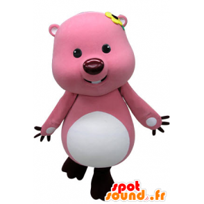 Pink and white beaver mascot. Otter mascot - MASFR031469 - Beaver mascots