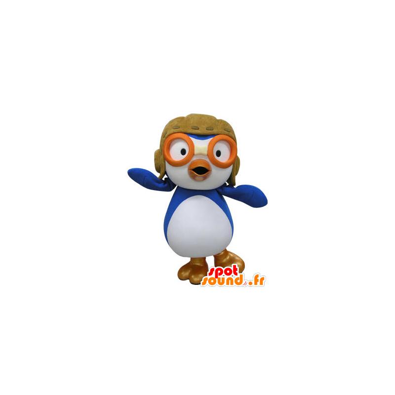 Mascot blue and white bird, airplane pilot held - MASFR031470 - Mascot of birds