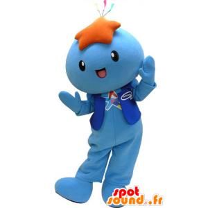 Pupazzo mascotte blu con...
