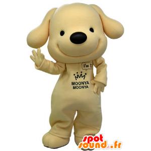 Maskotti keltainen ja musta koira, erittäin hymyilee - MASFR031473 - koira Maskotteja