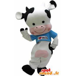 Mascotte de vache noire, blanche et rose avec un t-shirt bleu