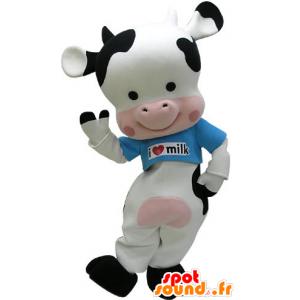 Schwarze Kuh Maskottchen, rosa und weiß mit einem blauen T-Shirt