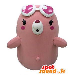 Mascot of pink and white bears, taupe plump and funny - MASFR031475 - Bear mascot
