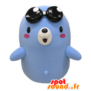Mascot bear, blue and white taupe with glasses
