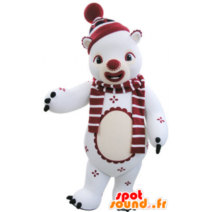 White and red teddy mascot in winter outfit