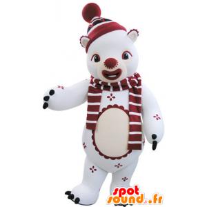 Hvit og rød teddy Mascot vinter antrekk - MASFR031481 - bjørn Mascot
