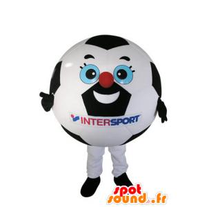 Zwart en wit voetbal mascotte - MASFR031485 - mascottes objecten