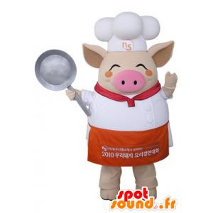 Mascotte de cochon beige habillé en chef cuisinier - MASFR031486 - Mascottes Cochon