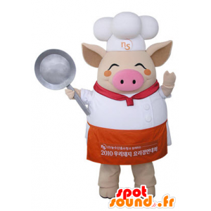 Beżowy maskotka świń w stroju kuchni - MASFR031486 - Maskotki świnia