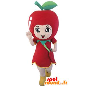 Gigante mascotte mela rossa. mascotte della frutta - MASFR031488 - Mascotte di frutta