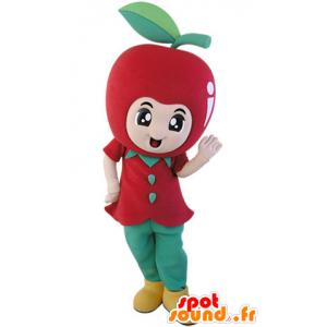 Gigante mascotte mela rossa. mascotte della frutta - MASFR031489 - Mascotte di frutta