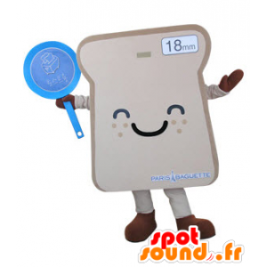 Slice of bread mascot giant sandwich and smiling - MASFR031497 - Food mascot
