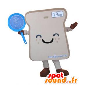 Mascotte de tranche de pain de mie géante et souriante - MASFR031497 - Mascotte alimentaires
