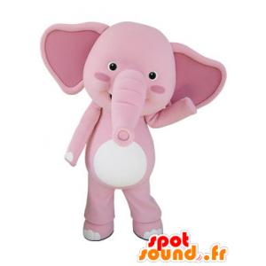Mascot of pink and white elephant, giant - MASFR031500 - Elephant mascots