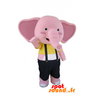 Mascot of pink and white elephant with overalls - MASFR031501 - Elephant mascots