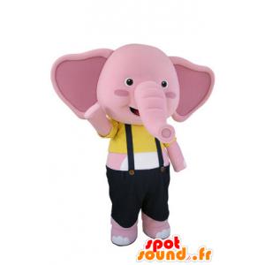 Maskottchen von rosa und weißen Elefanten mit Overalls - MASFR031501 - Elefant-Maskottchen