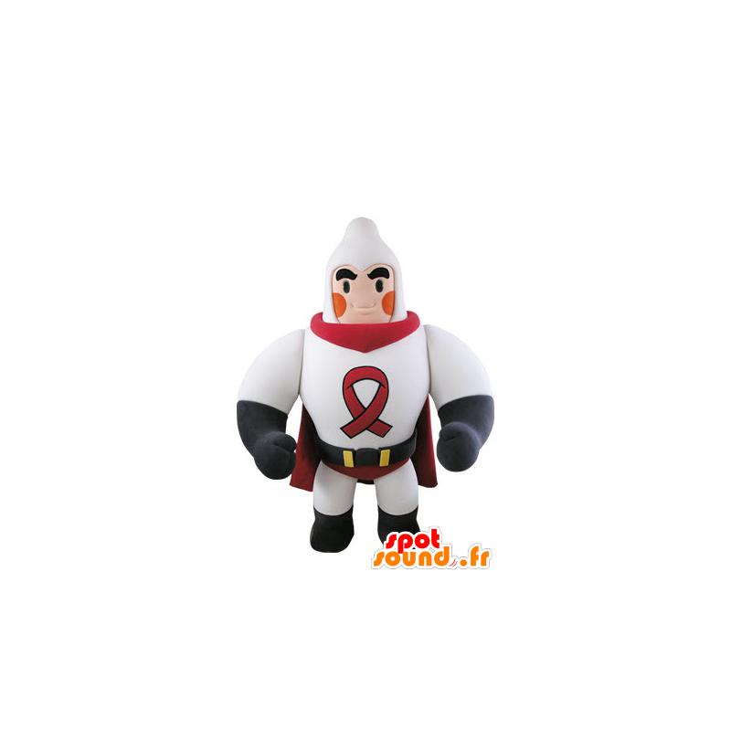 Mascotte de super héros musclé habillé en blanc et rouge - MASFR031502 - Mascotte de super-héros