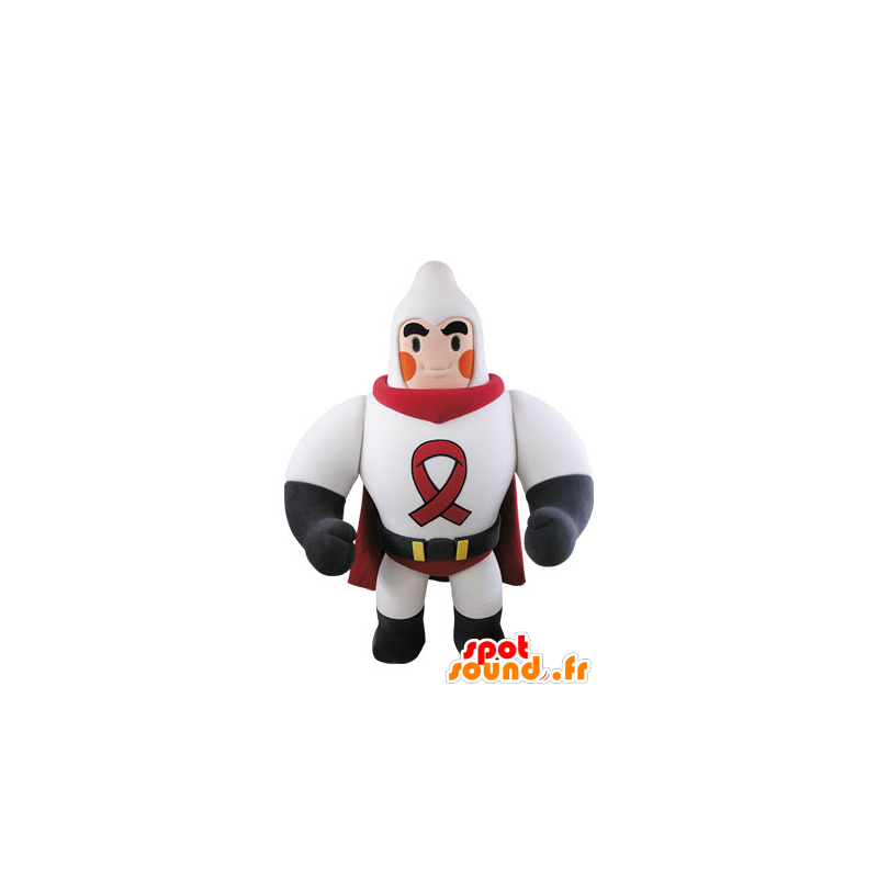 Muscular superhero mascot dressed in white and red - MASFR031502 - Superhero mascot