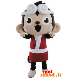 Mascotte de singe marron et rose habillé en kimono - MASFR031504 - Mascottes Singe