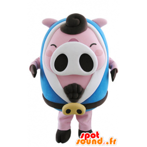 Pink and white pig mascot, plump with a blue bathrobe - MASFR031505 - Mascots pig