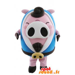Różowy i biały maskotka świnia, pulchna z niebieskim szlafroku - MASFR031505 - Maskotki świnia