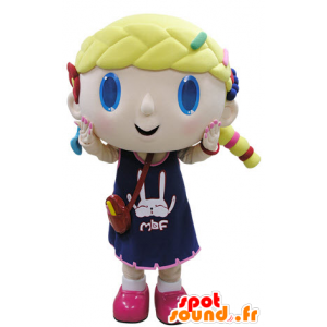 Mascot blond girl with blue eyes - MASFR031506 - Mascots boys and girls