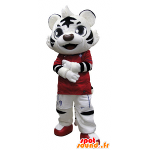 Black and white tiger mascot dressed in red - MASFR031510 - Tiger mascots