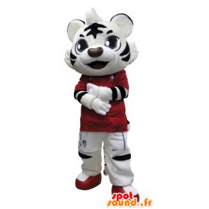 Blanco y negro de la mascota del tigre vestido de rojo - MASFR031510 - Mascotas de tigre